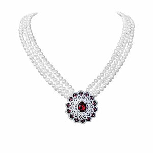 Red Crystal Pearl Necklace - Timeless Pearl