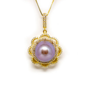 Sunflower Edison Purple Edison Pearl Necklace - Timeless Pearl