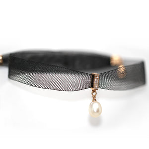 Black Lace Choker Pearl Necklace - Timeless Pearl