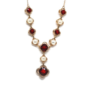 Red Crystal Statement Pearl Necklace - Timeless Pearl