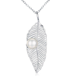Silver Leaf Pearl Necklace - Timeless Pearl