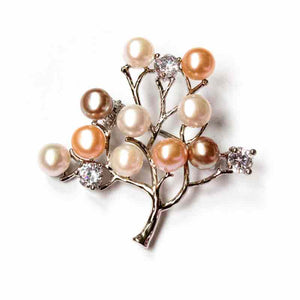 FRUITY TREE SILVERY PEARL BROOCH - Timeless Pearl