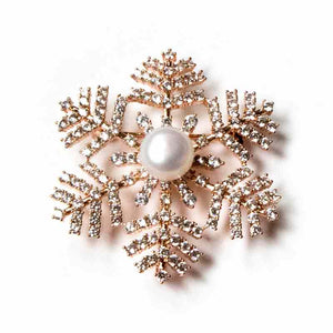 GOLDEN SNOWFLAKE PEARL BROOCH - Timeless Pearl