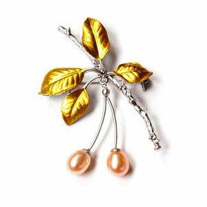 SILVERY PEARL CHERRY TREE BROOCH - Timeless Pearl