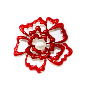Peony Flower Pearl Brooch - Timeless Pearl