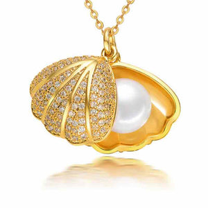 Golden Shell Pearl Necklace - Timeless Pearl