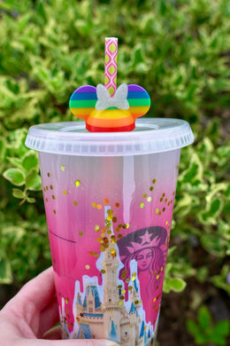 Magical Mouse Ears Rainbow Straw Topper