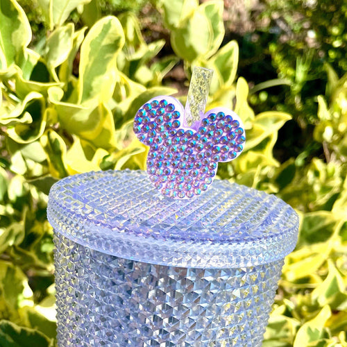 Lilac Lavender Straw Bling Mouse Head Straw Topper