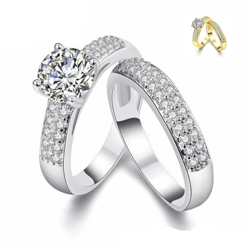 Devoted Crystal Bridal Ring Set