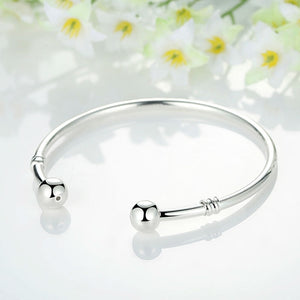 Silver Adjustable Bangle Bracelet