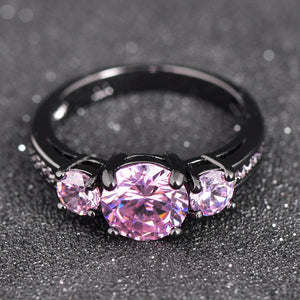 Pink Crystal Dark Ring