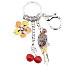 Load image into Gallery viewer, Parrot Cherry Flower Keyring