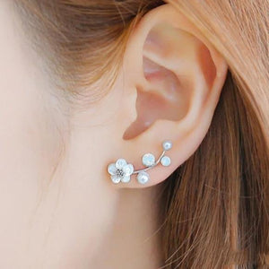 Silver Flower Stud Earrings