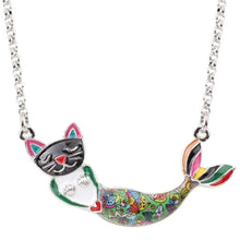 Load image into Gallery viewer, Cat Mermaid Pendant Necklace