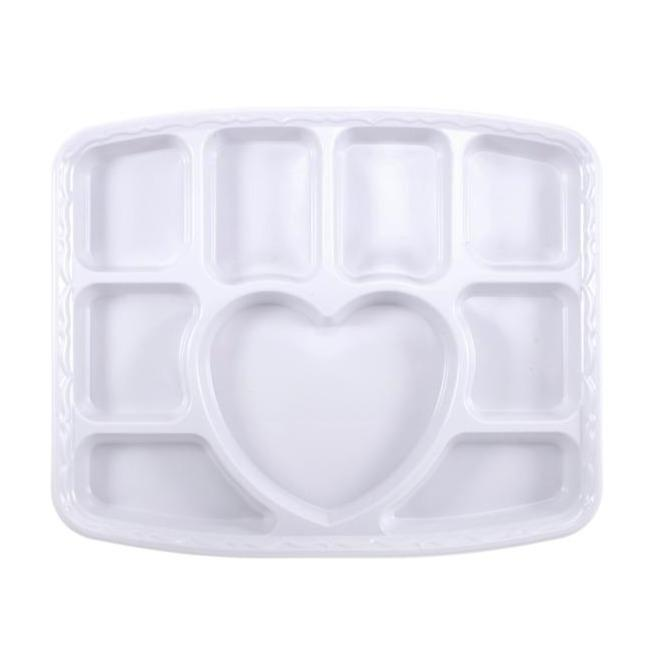 9 Section Heart Plastic Plates - Gafbros