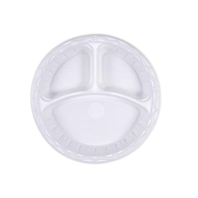 "10"" (26cm) Plastic Plates (e-lite) 3 Section - Gafbros"
