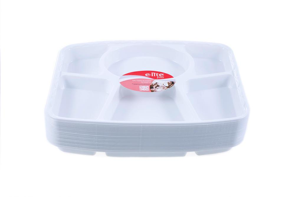 6 Compartment Punjabi Thali Disposable Plastic Plates Ideal For Weddings, Catering And Fast Food, branded e-lite