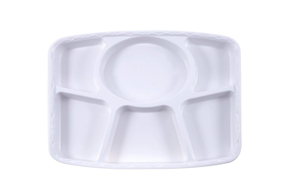 6 Compartment Punjabi Thali Disposable Plastic Plates Ideal For Weddings, Catering And Fast Food