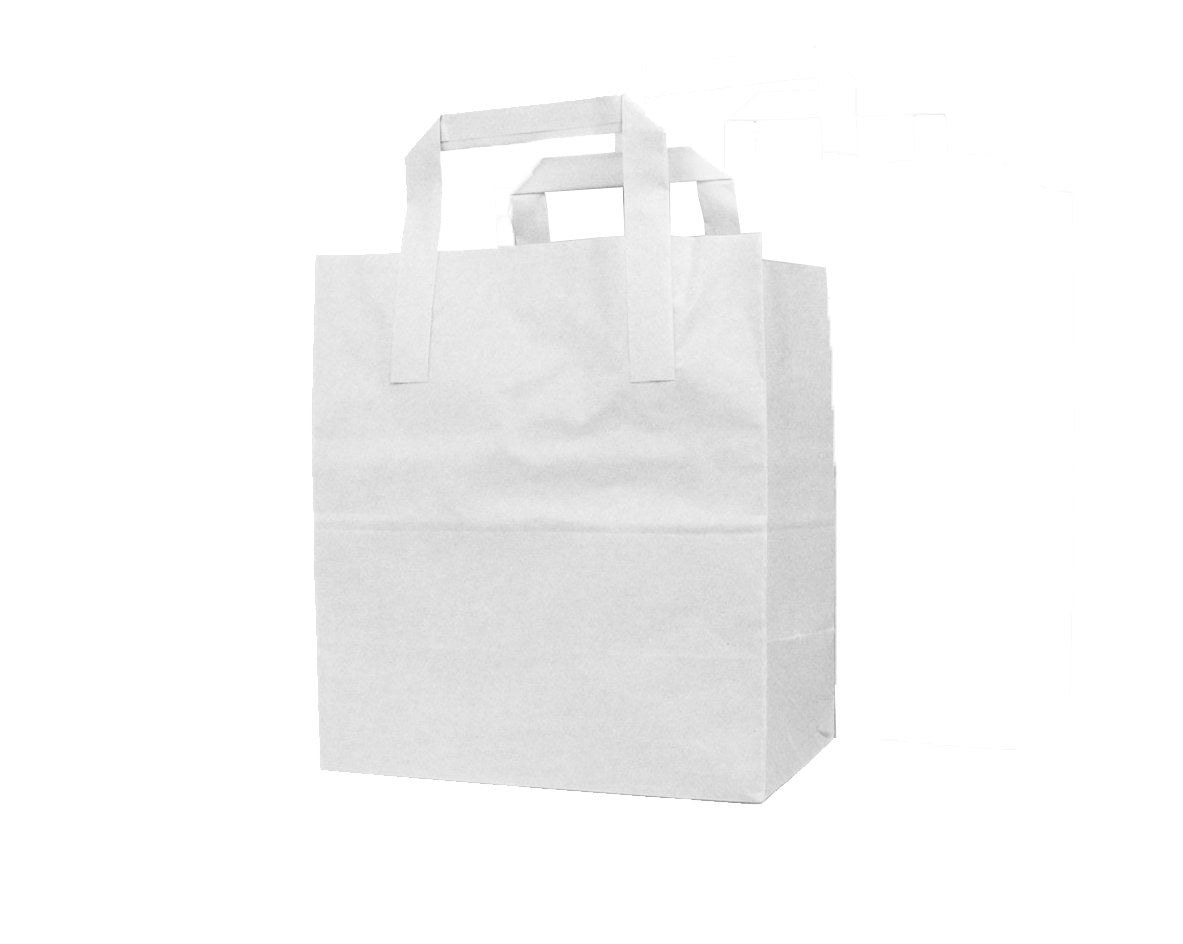 Large White Flat Handle Paper Bags - Gafbros