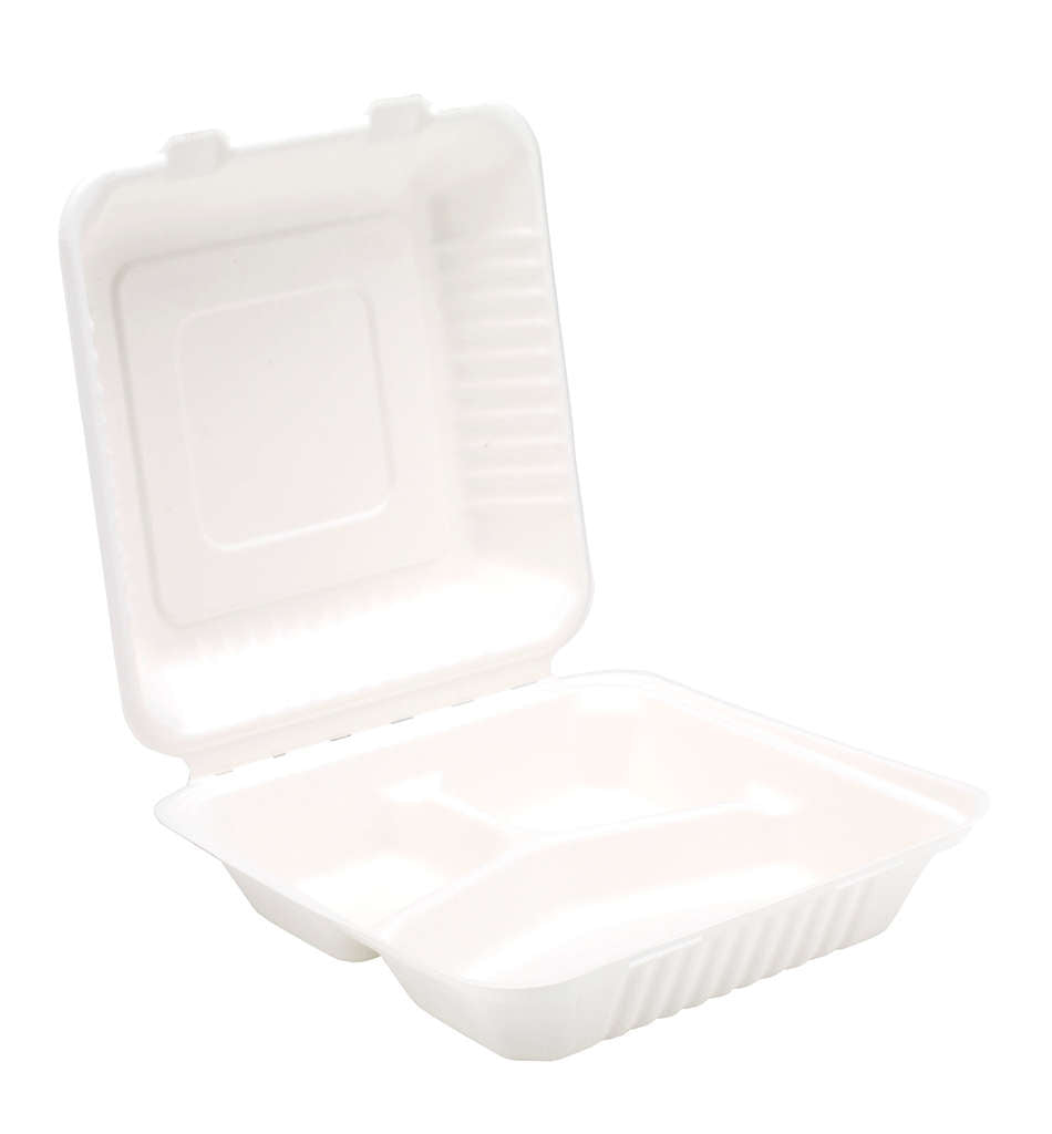 "Bagasse Clamshell Meal Boxes 9"" 3 Compartment - Gafbros"