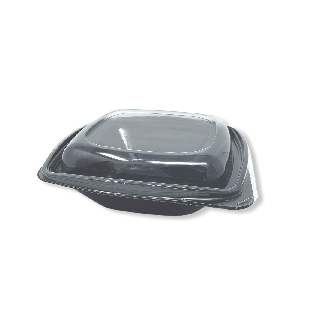 1000ml Black Square PET Salad Bowls And Lids - Gafbros