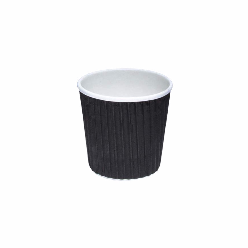 4oz Black Ripple Double Wall Hot Paper Cups - Gafbros