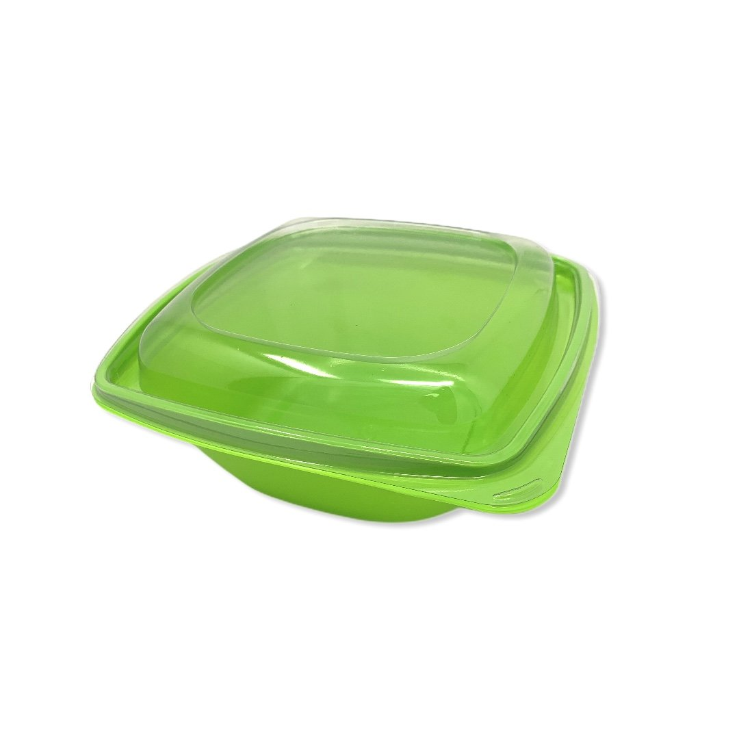 1000ml Green Square PET Salad Bowls And Lids - Gafbros