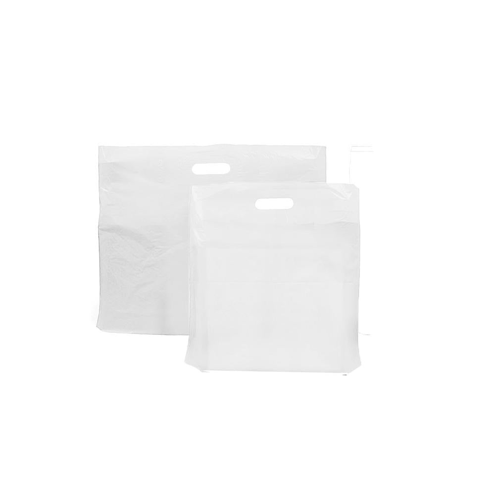 12 x 12 x 4 30mu White Patch Handle Plastic Carrier Bags (B2) - Gafbros