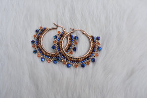 amber + deep blue small hoops