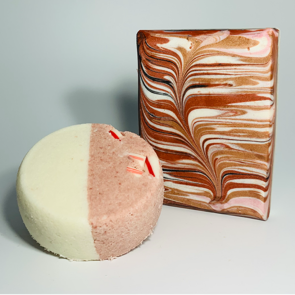 Candy Cane Swirl Soap and Peppermint Goats Milk Bath Truffle Bundle