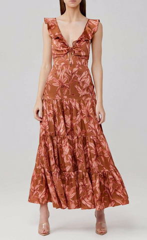 Soller Dress in Chestnut Brown and Pink Palm Maxi Dress - The SMITH