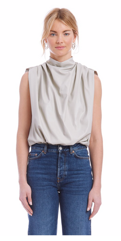 Sleeveless Fabienne Bodysuit in Faux Leather - The SMITH