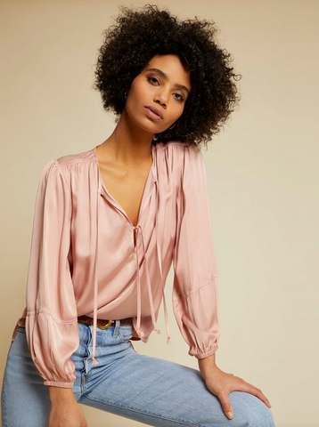 Sandra Seamed Peasant Blouse - The SMITH