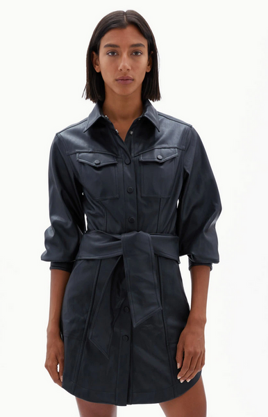EVE VEGAN LEATHER MINI SHIRT DRESS - The SMITH