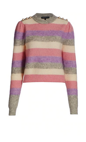 Brielle Pearl-Button Trimmed Striped Sweater - The SMITH