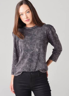 Mineral Wash Puff Sleeve Sweatshirt in Vintage Black - The SMITH