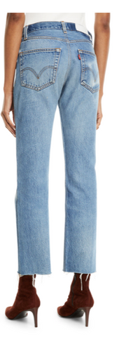 High-Rise Whiskered Stovepipe Jeans with Raw-Edge Hem - The SMITH