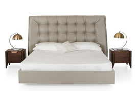 Modrest Codex Queen Modern Grey Leatherette Bed
