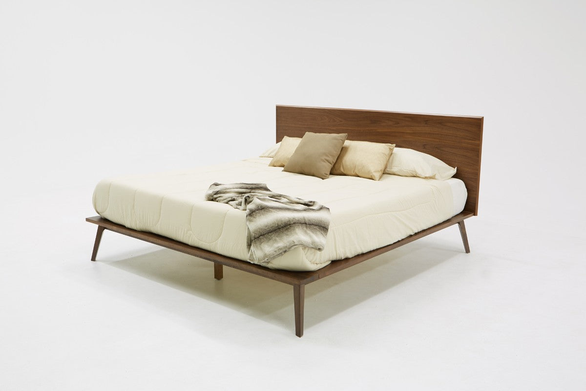 Modrest Carmen Queen Mid-Century Modern Walnut Bed