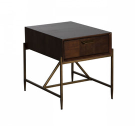 Modrest Shane - Modern Acacia & Brass End Table