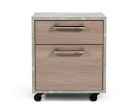 Nova Domus Boston Modern Brown Oak & Faux Concrete Office Small File Cabinet
