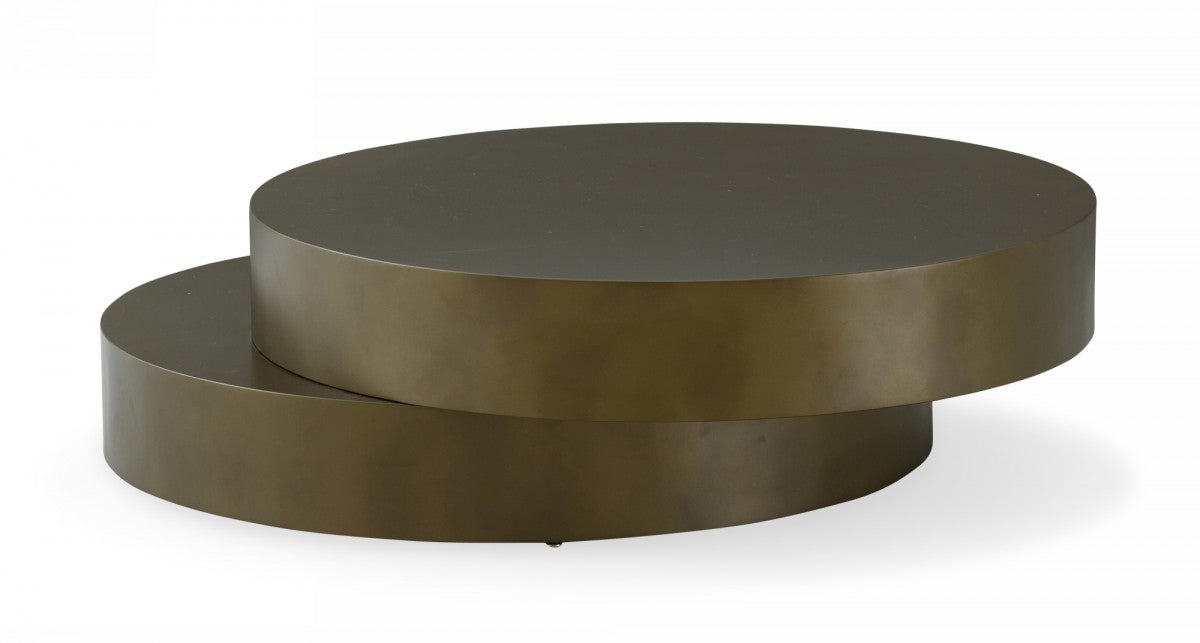 Modrest Grayson - Glam Brushed Bronze Metallic Coffee Table