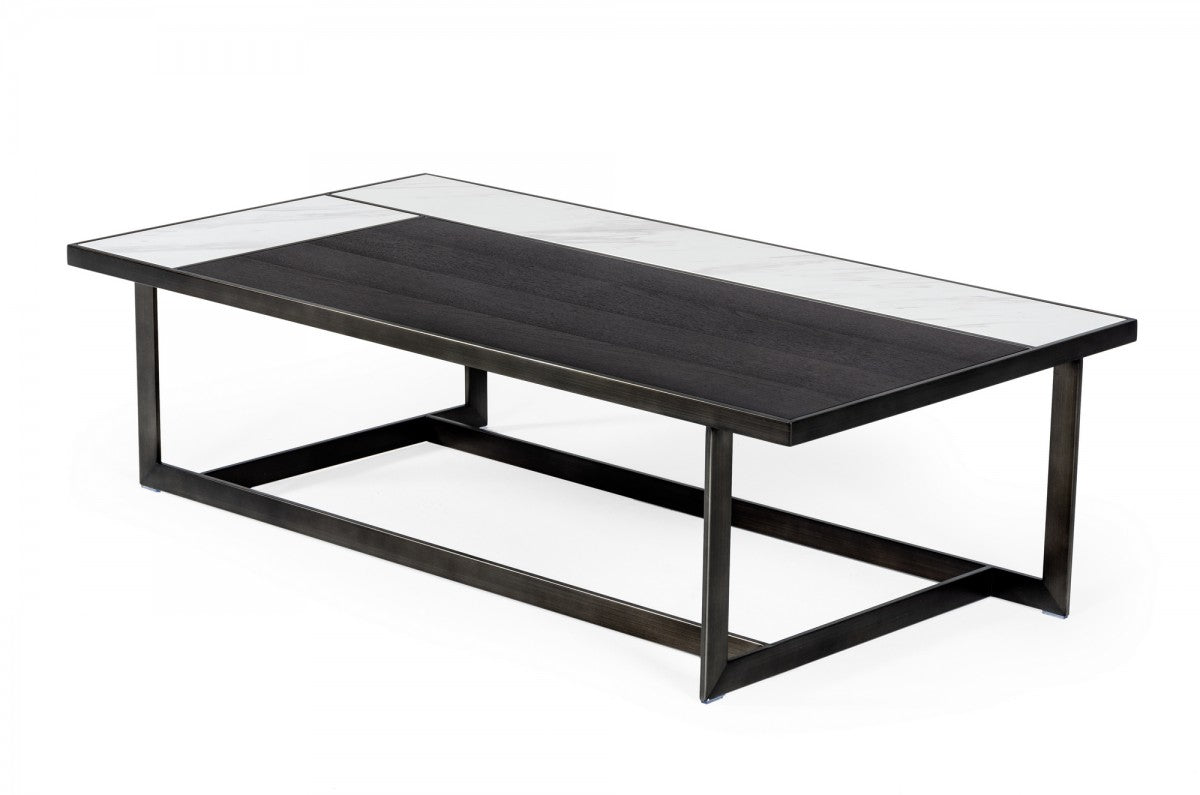 Modrest Fargo - Modern Ceramic & Grey Walnut Coffee Table
