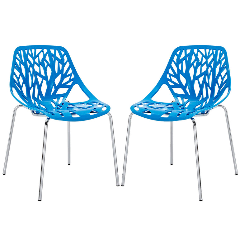 Stencil Dining Side Chair Plastic Set of 2