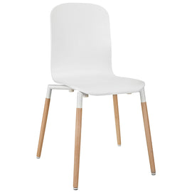 Stack Dining Chairs and Table Wood Set of 5