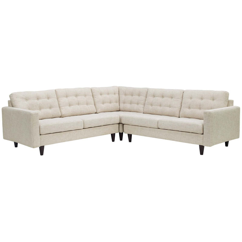 Empress 3 Piece Upholstered Fabric Sectional Sofa Set