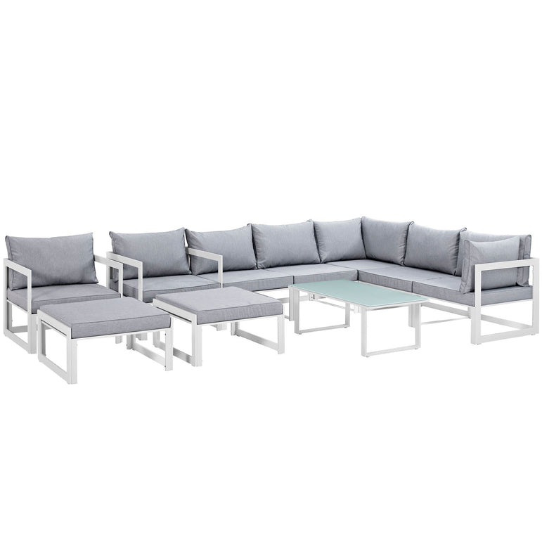 Fortuna 10 Piece Outdoor Patio Sectional Sofa Set