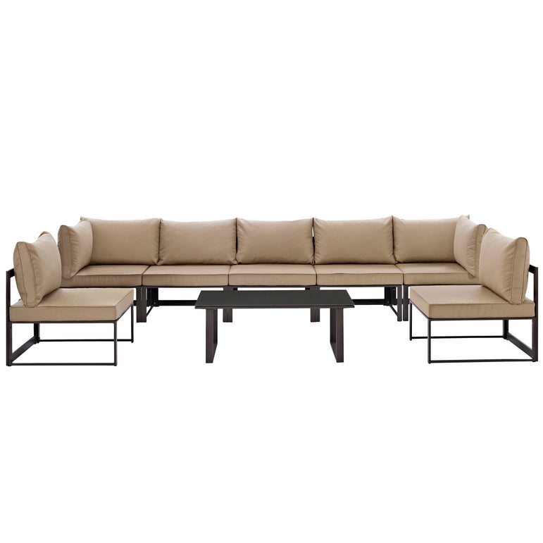 Fortuna 8 Piece Outdoor Patio Sectional Sofa Set