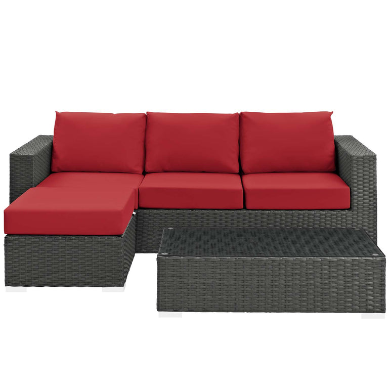 Sojourn 3 Piece Outdoor Patio Sunbrella® Sectional Set