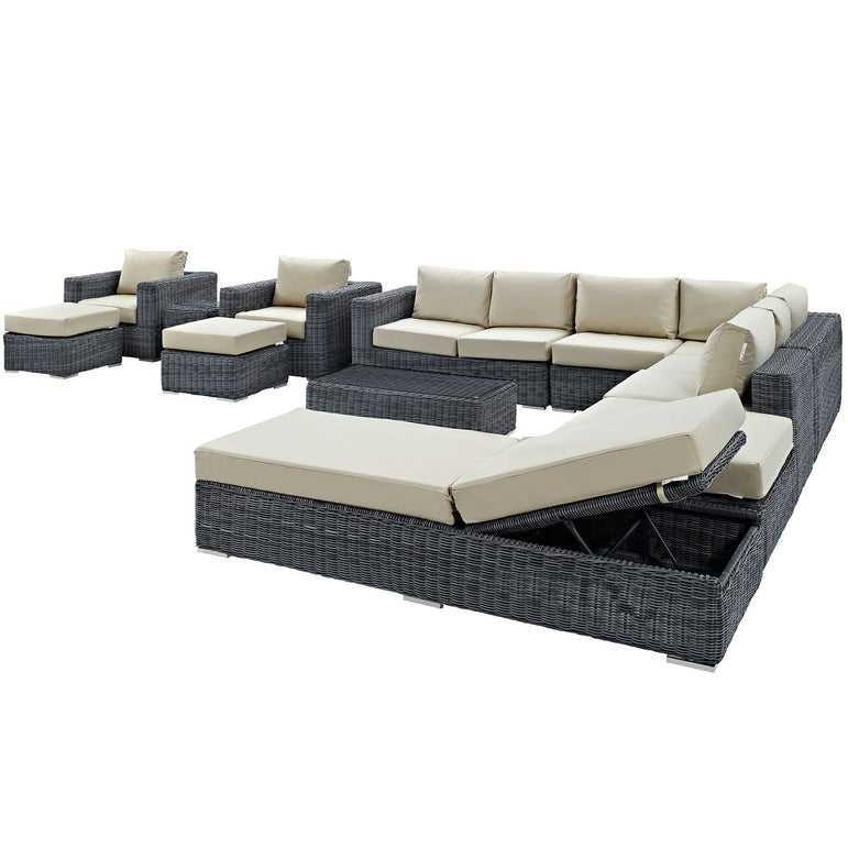 Summon 12 Piece Outdoor Patio Sunbrella® Sectional Set